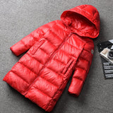 Winter children's hooded zipper long co children's down jacket boys girls thick warm outwe kids silver reflective co 18M03