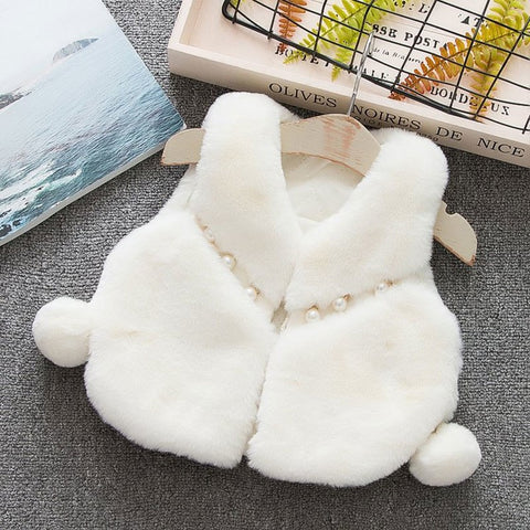 Winter fall girl baby clothes faux fur vest outerwear for newborns babies clothing infant girl 1st birthday costume jackets vest