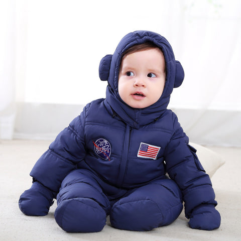 Winter high quality baby warm feather cotton rompers girls boys thicking clothes fashion astronaut infant hooded jumpers 17S907