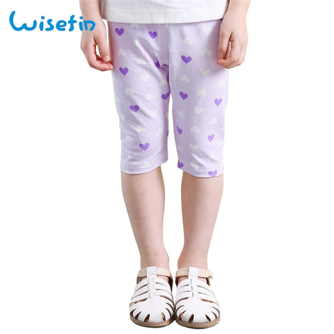 Baby Girl Summer Shorts Leggings Cotton Children White And Purple Elastic Waist Cute Heart Cropped Pants Kids Shorts