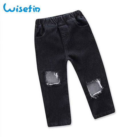 Children Pants Boy Ripped Jeans Girl Kids Blue Denim Long Pants For Girl Fashion Unisex Black Kids Clothes Boy Trousers