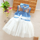New Clothing Princess Baby Girl's Kids Denim Sleeveless Tops Tulle Tutu Mini Dress X16