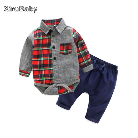 d139147ff Baby Clothing Sets New Baby Boy Clothes Red Long Sleeve Plaid Romper+Jeans  2PCS Outfits Set Newborn Boys Gentleman Suit