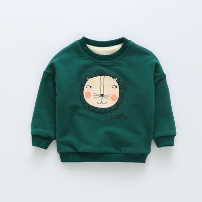 baby sweatshirts 2018 winter 6-24M girl boys cartoon lion pullovers cotton children cashmere hoodies O-neck clothes y48
