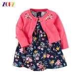 2pcs set baby Girl Dress O-Neck babies Dresses for Girls Cotton Floral Print Dress with Long Sleeve Cardigan Baby Clothing