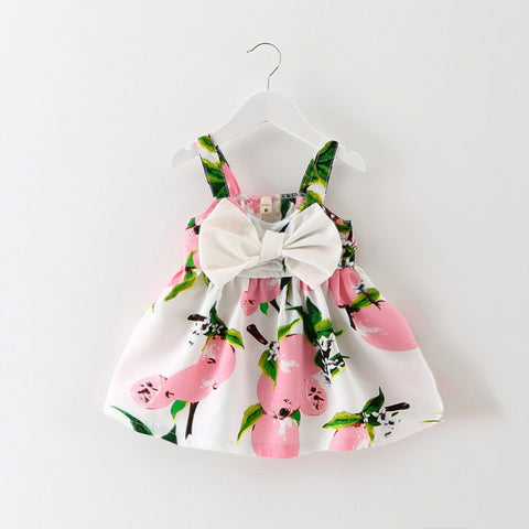 baby girl dress 2018 Summer Floral Princess Party cut cotton baby girl clothes Kids bowknot Gown lemon dresses 6-24M pink yellow