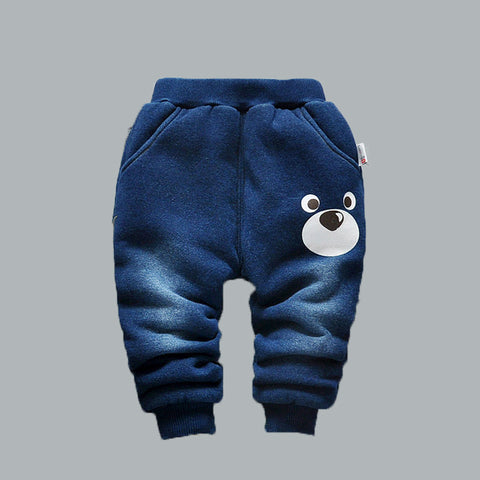 baby pants winter Boy very warm cotton-padded thick children trousers kids boy jeans color navy blue boys girls thermal 3 years