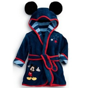 children's bathrobe Retail! Baby pc 1 boy / girl minnie and mickey soft velvet robe pajamas coral children dress clothes