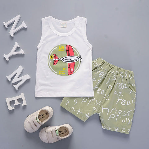 childrens clothing summer 2018 boys 2 piece set letter print cotton sleeveless vest suit infant cotton clothes sport sets boy