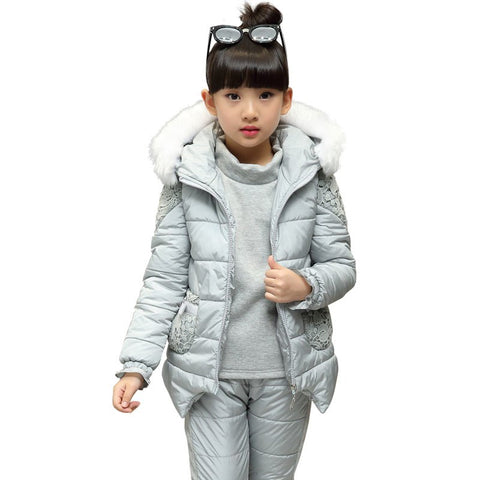 childrens girl winter jacket Clothing sets 3-11 lace Fur vest+plus velvet bottoming sweatshirt+thick trousers 3PCS girls clothes