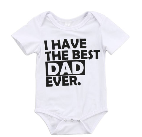 cute Newborn Baby Boy Girls Bodysuit best mom dad print Jumpsuit Outfits Clothes short sleeve white Bodysuits for baby