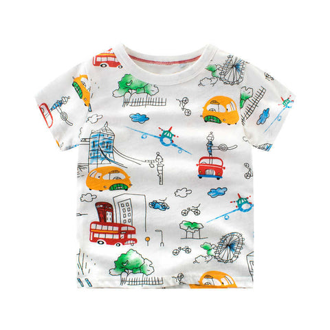 cute Summer T-shirts Casual Baby Boys C Printing T shirt Cotton Short Sleeve Tops Clothing Shirt