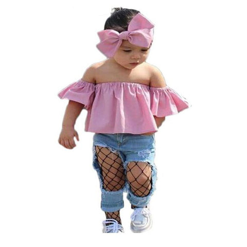 dropshipping Children Clothing kid girl Summer Casual Headband+Off Shoulder Tee tops+Ripped Jeans 3pcs Sets Toddler Girl Clothes