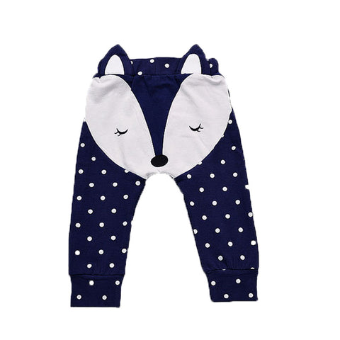fashion boy girl baby pants 3D fox pattern cute PP harem long trousers cotton gray dark blue infant baby clothing 9M-24M