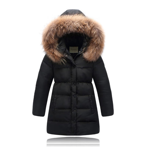 for 4-12Years Children White Duck Down Jackets hooded long Boys girls Fur Coll coats high quality kids casual winter outwear