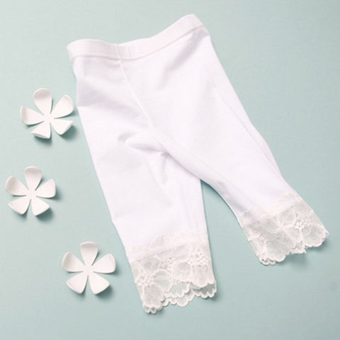 free shipping 2018 Summer Black White Girls Leggings Pants Lace cotton Children Clothing Flower Girl Knee Pants