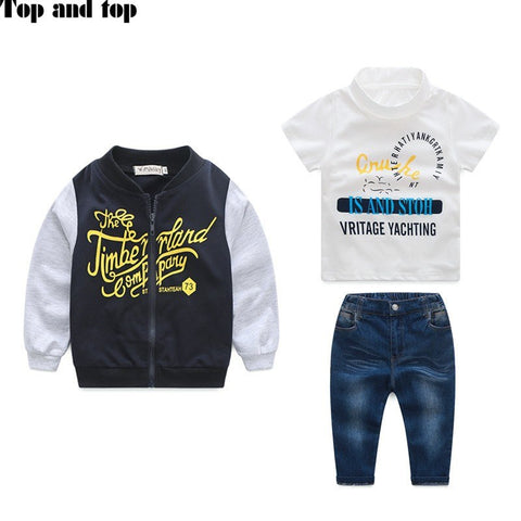 free shipping new boy 3 piece suit autumn style coat+ t shirt + jeans clothes set baby boy clothes high quality sports suit