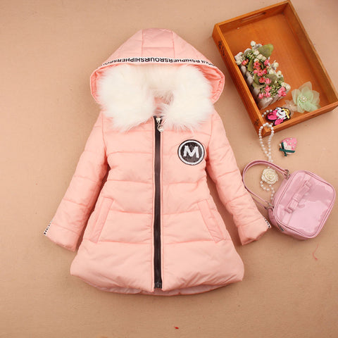 girls winter co 2018 children clothing fashion fur coll hooded down cotton jacket kids clothes thick winter jacket age 3-16Y