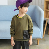 green gray patchwork pockets children t shirts for teenage boys fashion 2018 long sleeve cotton tops kids autumn tees clothing
