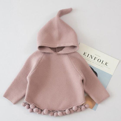 hoodies kids sweatshirts infant toddler cloak shawl cute tassel balls children clothes tops for autumn spring outerwe 2 3 4 5t