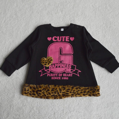hot sales free shipping girls children's clothing leopard sweatshirt o-neck kids for autumn and winter pullover