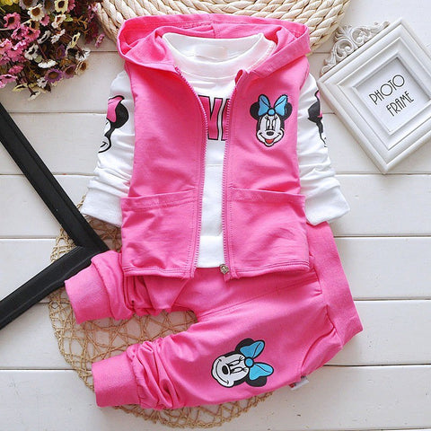 kids clothes Outfits Childrens Leisure Suits Hooded Vest+T-shirts+Pants Cartoon 3pcs/set minnie Kids Clothes Girls Clothing Sets