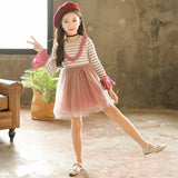 knit sweater patchwork baby girl dress tutu long sleeve clothing striped pink purple teen children christmas dress autumn winter