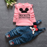 new Baby Girls Letter T-Shirt Tops + Denim Jeans Overalls Pants Two Pieces Suits Kids Clothing Sets roupas de bebe