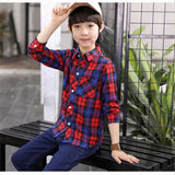red green plaid children blouse scho for big boys long sleeve cotton shirts tops clothing   2018 autumn kids shirts blouses