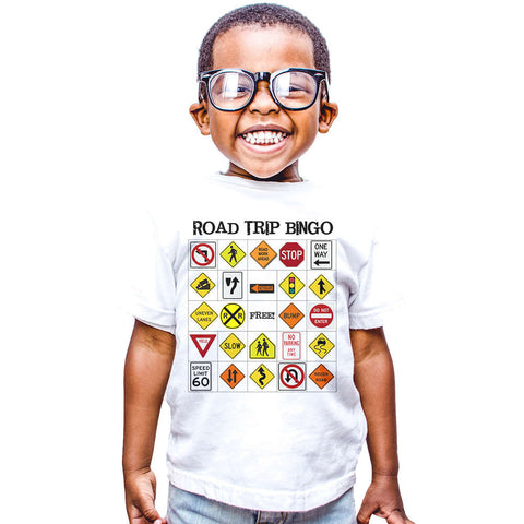 road sign cute t-shirt for baby funny road trip bingo t shirt boys girls toddler clothes summer style tops tees infant  born