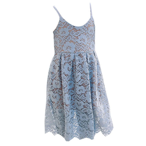 scho lace floral hollow out 2018 autumn dresses for girls pink blue sleeveless kid girl dress princess clothing