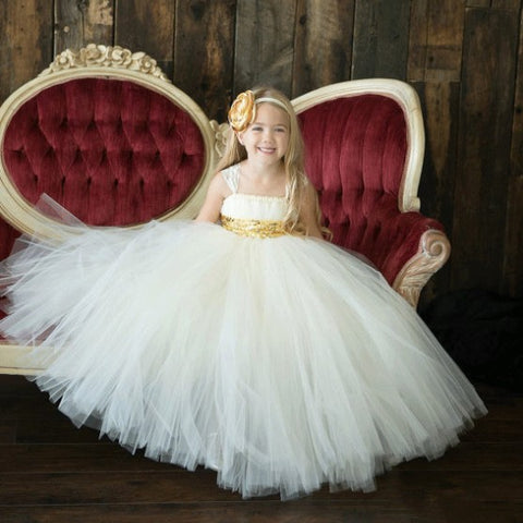 solid white golden sash tutu baby bridesmaid flower girl wedding dress tulle fluffy ball gown birthday evening cloth party kids