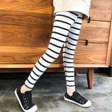 stretch kids leggings for girls spring autumn 2018 black white striped shinny girls pants elastic waist children pants clothing