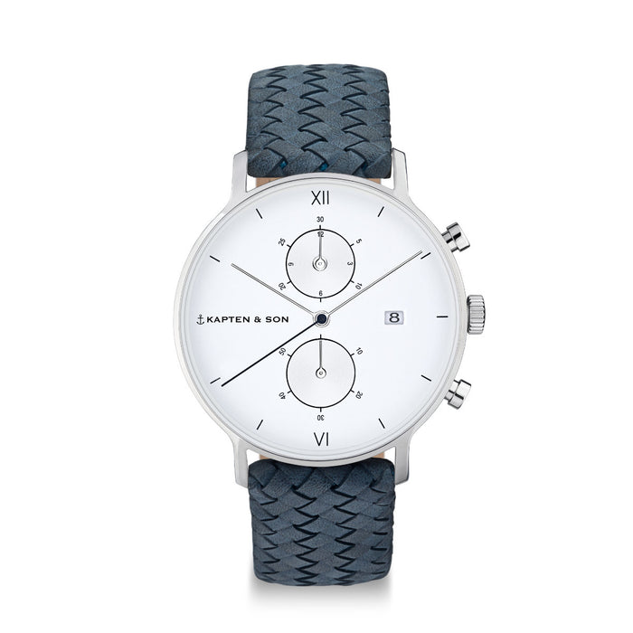 "Chrono Silver ""Light Blue Woven Leather"""