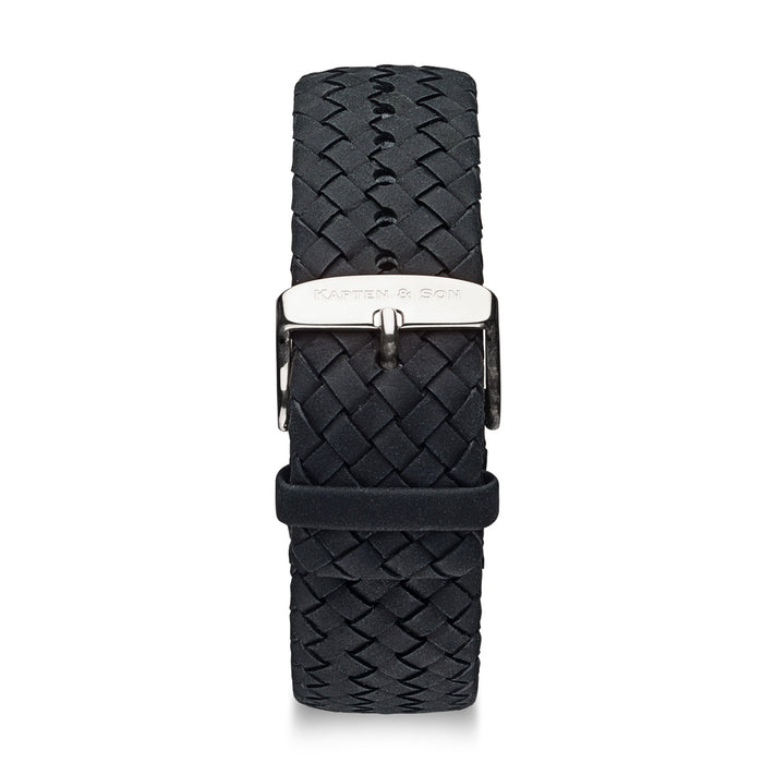 "Leather Strap ""Black Woven Leather"" Chrono Silver"