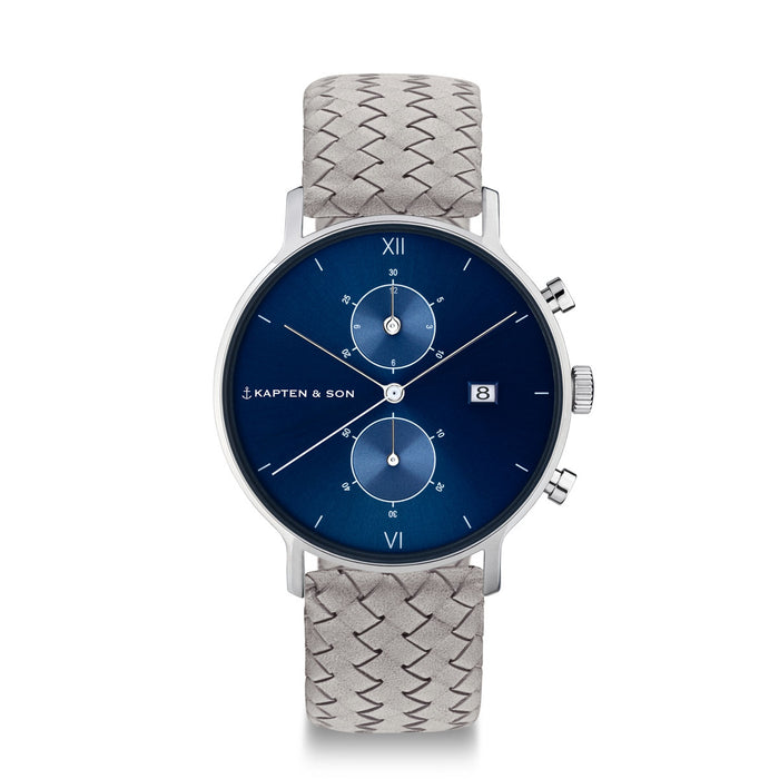 "Chrono Silver ""Blue Grey Woven Leather"""