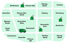 Load image into Gallery viewer, The Gluten-free Box Delivery Zone includes the following suburbs in the inner north of Melbourne. Strathmore, Pascoe Vale, Coburg North, Preston, Essendon, Pascoe Vale South, Coburg, Thornbury, Moonee Ponds, Brunswick West, Brunswick, Brunswick East, Northcote, Ascot Vale, Travancore, Parkville, Princes Hill, Carlton North and Fitzroy North