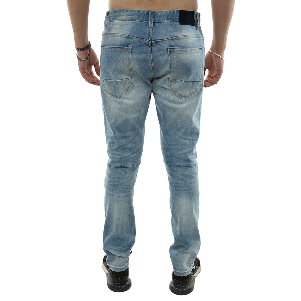 Smoke Rise Slim Fit Cut And Sew Jeans With Blown Out Knee Mens Style : Jp8941-Blue