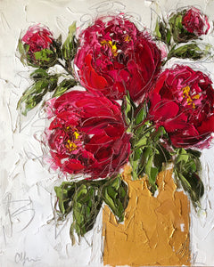 """Red Peonies in Gold I"" 20x16 Oil on Canvas"