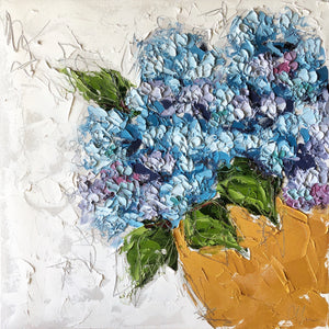 """Hydrangea in Gold Bowl II"" 20x20x1.5"" Oil and Graphite on Canvas"