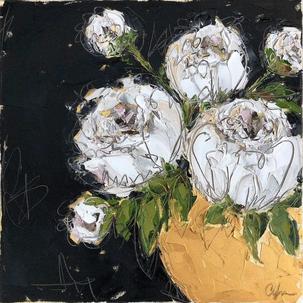 """White Peonies in Gold Bowl V"" 20x20 Oil on Canvas"