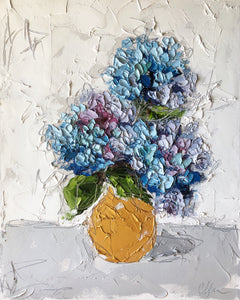 """Hydrangea in Gold I"" 20x16 Oil on Canvas"