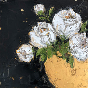 """White Peonies in Gold Bowl IV"" 20x20 Oil on Canvas"