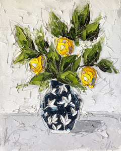 """Lemons in Blue Chinoiserie II"" 20x16 Oil/Graphite on Canvas"