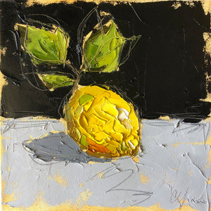 """Lemon on Black IV"" 12x12 Oil/Graphite on Canvas"