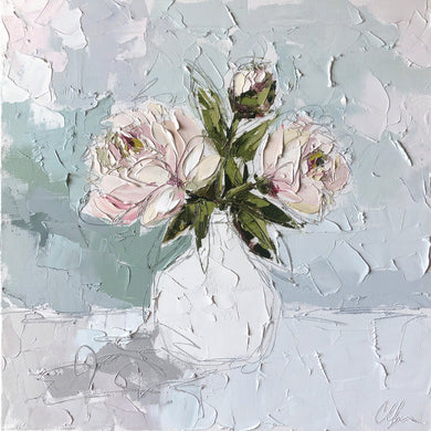 """Peony III"" 20x20 Oil/Graphite on Canvas"