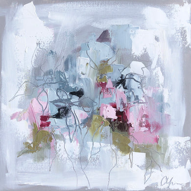 """Little Abstract Garden I"" - 12x12  Oil/Graphite on Canvas"