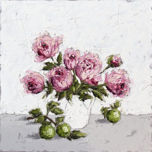 """Peonies and Apples"" 48x48 Oil on Canvas"