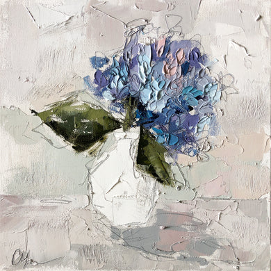 """Hydrangea XII"" 12x12 Oil/Graphite on Canvas"