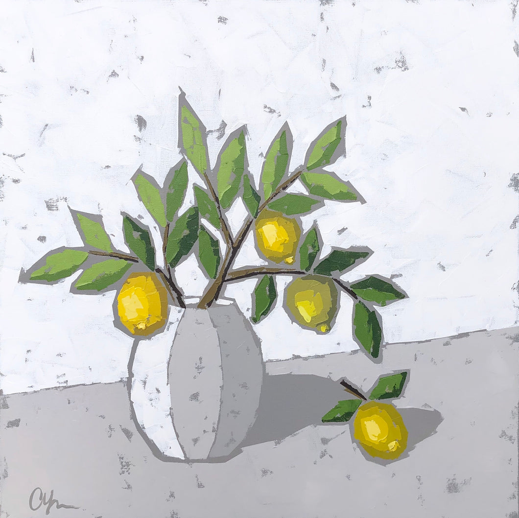 "SOLD - ""Lemons in Pottery"""
